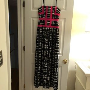 BCBG strapless maxi dress with built in corset